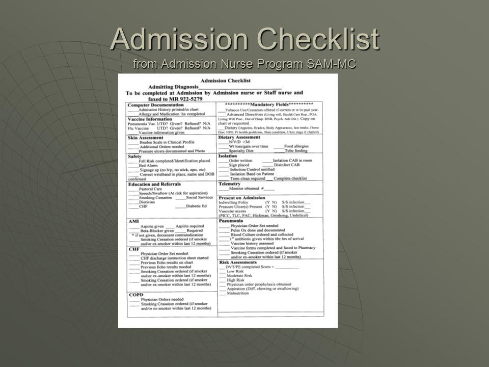Admission Checklist from Admission Nurse Program SAM-MC