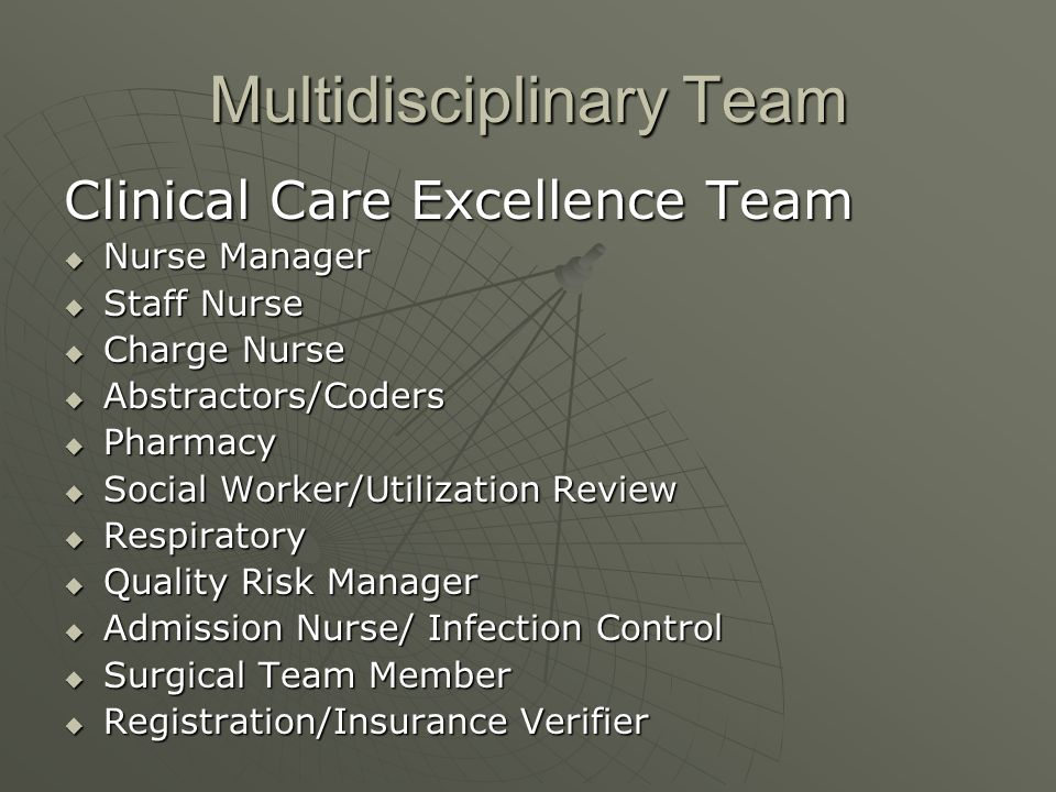 Multidisciplinary Team Clinical Care Excellence Team Nurse Manager Nurse Manager Staff Nurse Staff Nurse Charge Nurse Charge Nurse Abstractors/Coders