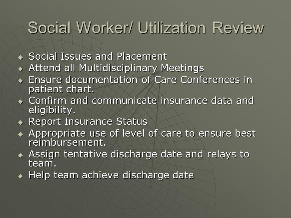 Social Worker/ Utilization Review Social Issues and Placement Social Issues and Placement Attend all Multidisciplinary Meetings Attend all Multidiscip