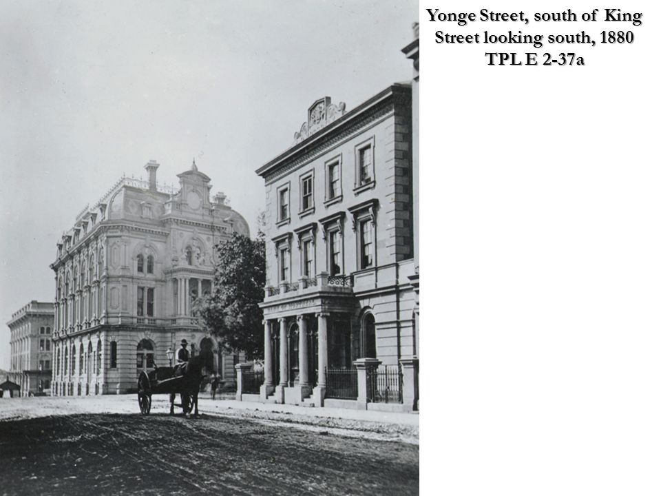 Yonge Street, south of King Street looking south, 1880 TPL E 2-37a