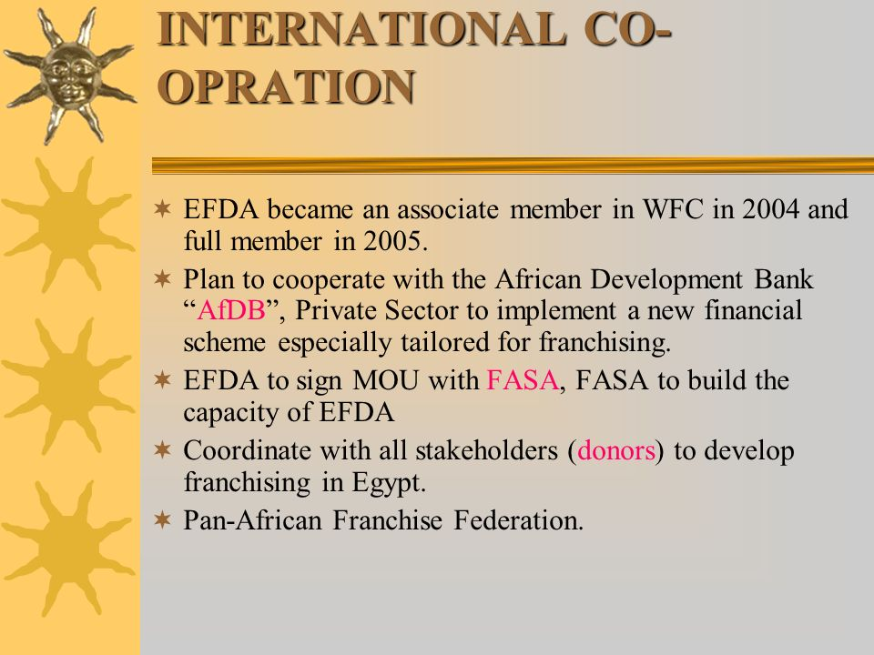 INTERNATIONAL CO- OPRATION EFDA became an associate member in WFC in 2004 and full member in 2005.