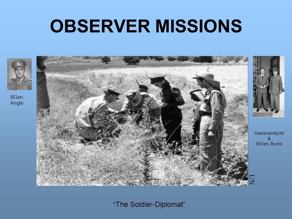 OBSERVER MISSIONS UN The Soldier-Diplomat BGen. Angle Hammarskj Ö ld & MGen. Burns