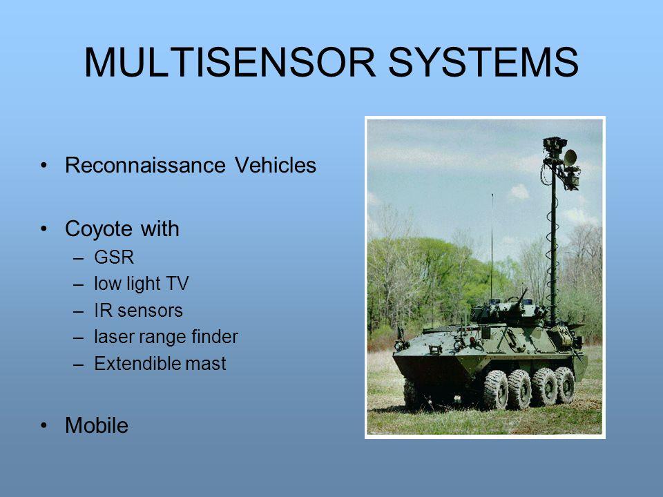 MULTISENSOR SYSTEMS Reconnaissance Vehicles Coyote with –GSR –low light TV –IR sensors –laser range finder –Extendible mast Mobile