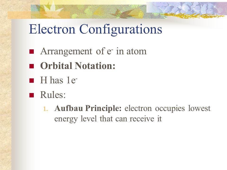 Electron Configurations Arrangement of e - in atom Orbital Notation: H has 1e - Rules: 1. Aufbau Principle: electron occupies lowest energy level that