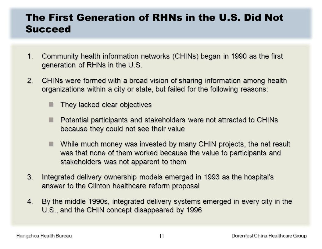 Hangzhou Health Bureau Dorenfest China Healthcare Group 11 The First Generation of RHNs in the U.S. Did Not Succeed 1.Community health information net