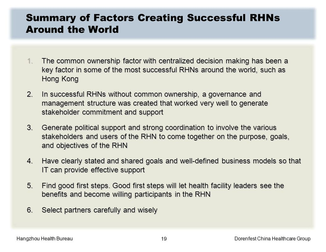 Hangzhou Health Bureau Dorenfest China Healthcare Group 19 Summary of Factors Creating Successful RHNs Around the World 1.The common ownership factor