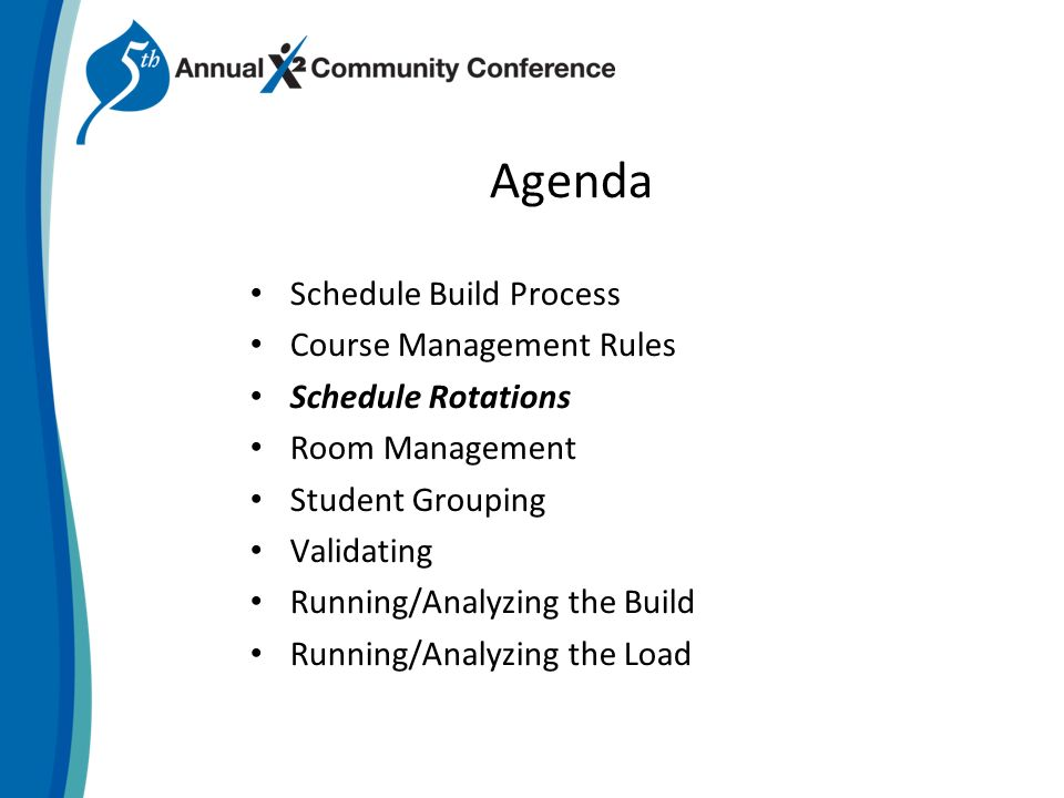 Agenda Schedule Build Process Course Management Rules Schedule Rotations Room Management Student Grouping Validating Running/Analyzing the Build Running/Analyzing the Load