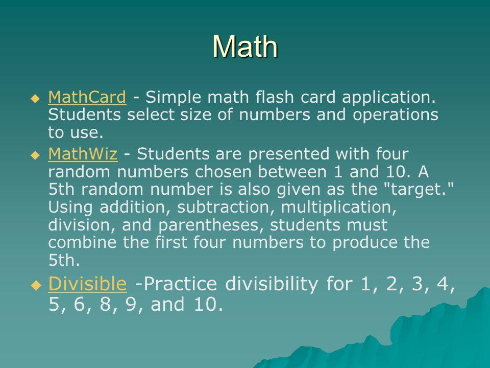 Math MathCard - Simple math flash card application.