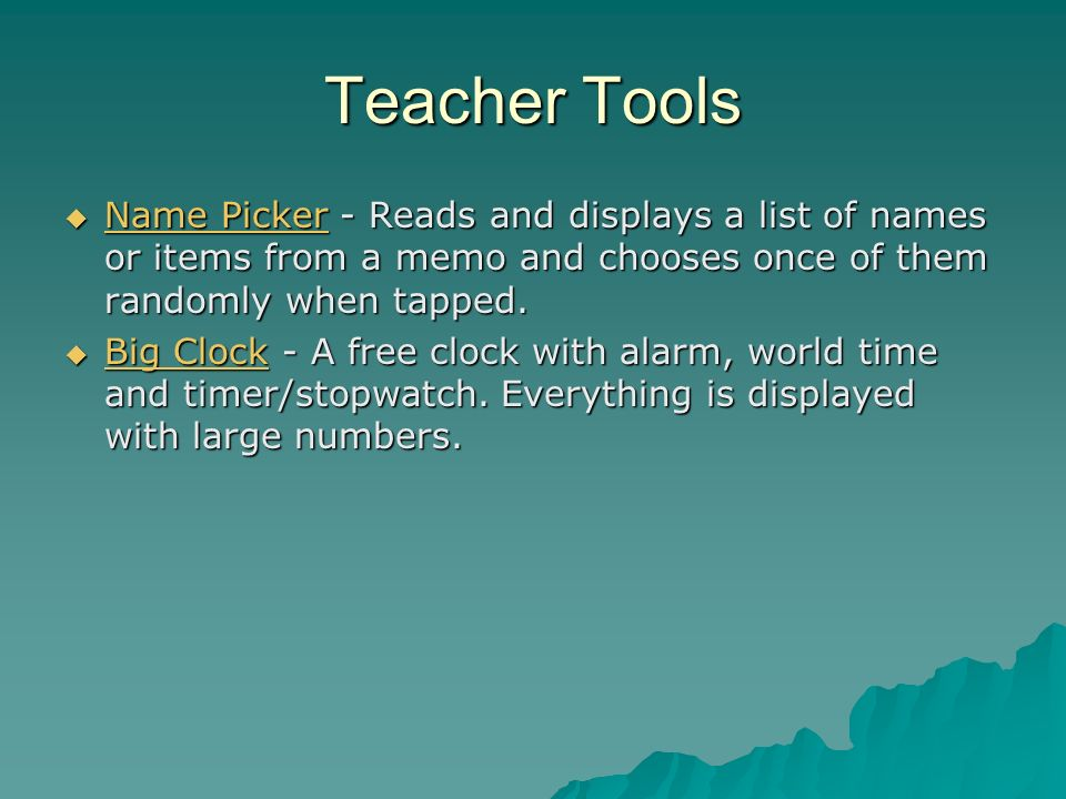 Teacher Tools Name Picker - Reads and displays a list of names or items from a memo and chooses once of them randomly when tapped.