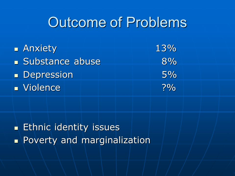 Outcome of Problems Anxiety13% Anxiety13% Substance abuse 8% Substance abuse 8% Depression 5% Depression 5% Violence ?% Violence ?% Ethnic identity is