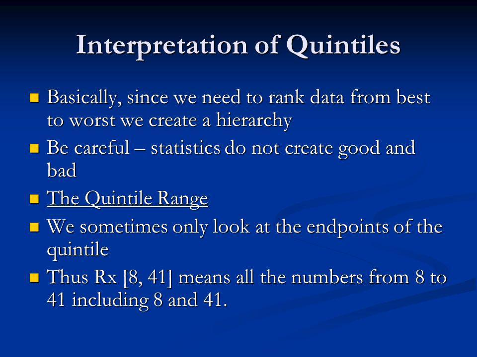 Interpretation of Quintiles Basically, since we need to rank data from best to worst we create a hierarchy Basically, since we need to rank data from best to worst we create a hierarchy Be careful – statistics do not create good and bad Be careful – statistics do not create good and bad The Quintile Range The Quintile Range We sometimes only look at the endpoints of the quintile We sometimes only look at the endpoints of the quintile Thus Rx [8, 41] means all the numbers from 8 to 41 including 8 and 41.