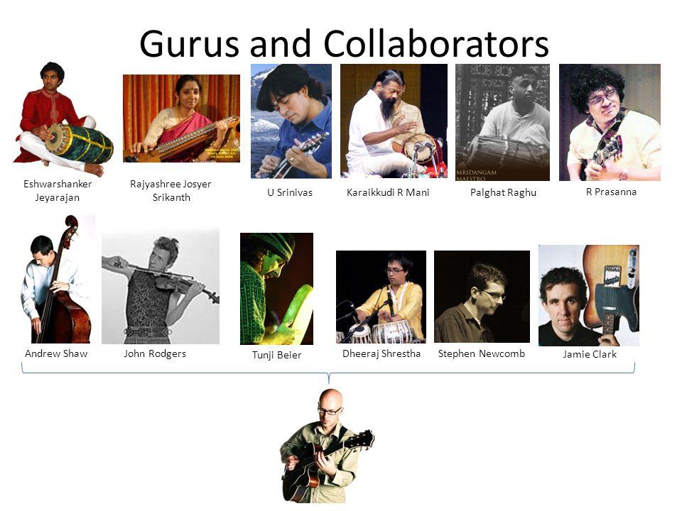 Gurus and Collaborators Eshwarshanker Jeyarajan Tunji Beier Rajyashree Josyer Srikanth Andrew ShawJohn RodgersDheeraj Shrestha Karaikkudi R ManiPalgha