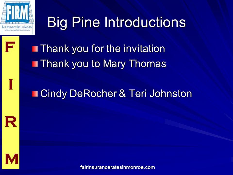 F I R M fairinsuranceratesinmonroe.com Media Introductions Hank Tester and Channel 6 Crew Monica Stanny from WGMX 94.3