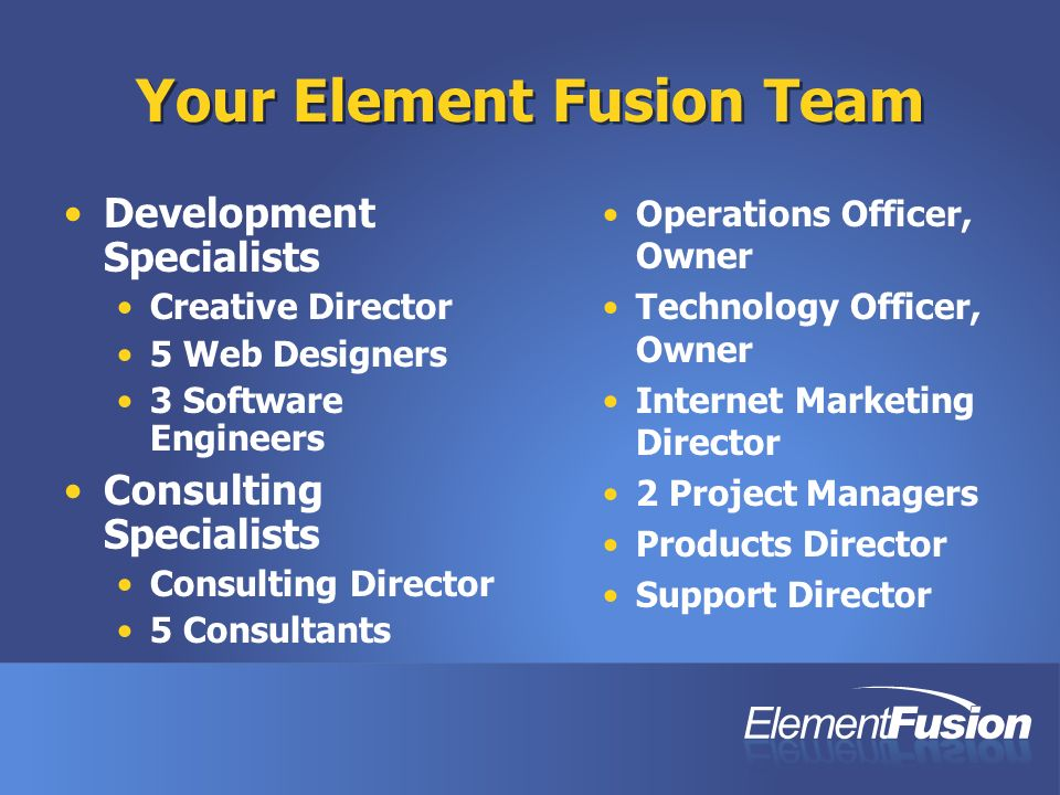 Your Element Fusion Team Development Specialists Creative Director 5 Web Designers 3 Software Engineers Consulting Specialists Consulting Director 5 Consultants Operations Officer, Owner Technology Officer, Owner Internet Marketing Director 2 Project Managers Products Director Support Director