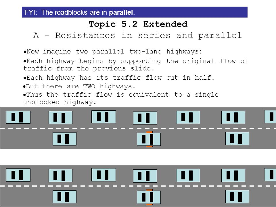 Topic 5.2 Extended A – Resistances in series and parallel The easiest way to picture a resistor is as a road construction zone in a highway: Here is t