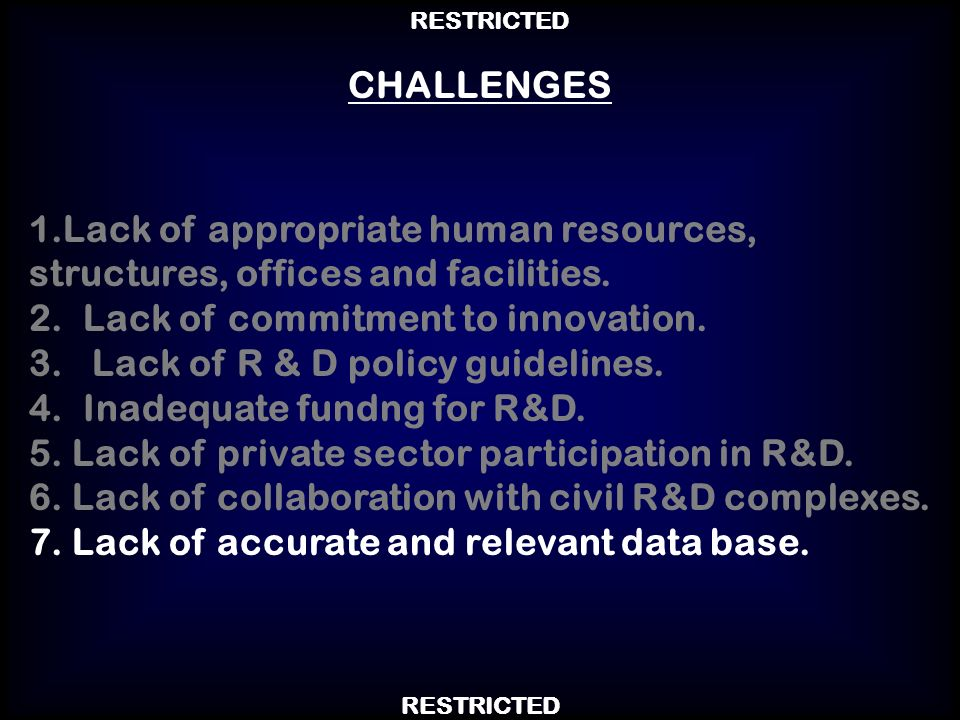 1.Lack of appropriate human resources, structures, offices and facilities. 2.Lack of commitment to innovation. 3. Lack of R & D policy guidelines. 4.I