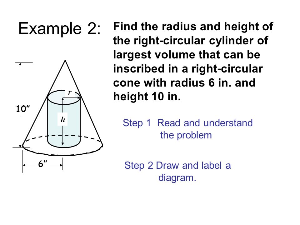 Example 2: 10 Step 2 Draw and label a diagram. Step 1 Read and understand the problem 6 Find the radius and height of the right-circular cylinder of l