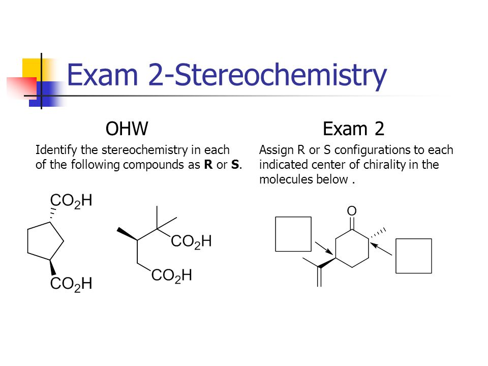 Exam 2-Stereochemistry OHW Identify the stereochemistry in each of the following compounds as R or S. Exam 2 Assign R or S configurations to each indi