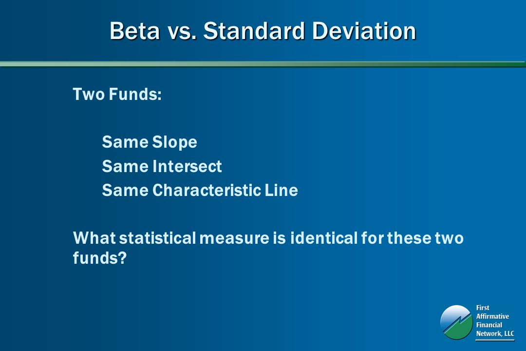 Beta vs. Standard Deviation Two Funds: Same Slope Same Intersect Same Characteristic Line What statistical measure is identical for these two funds?