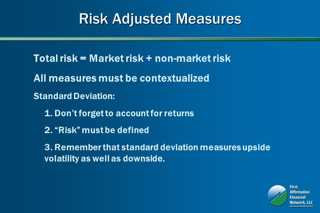 Risk Adjusted Measures Total risk = Market risk + non-market risk All measures must be contextualized Standard Deviation: 1.