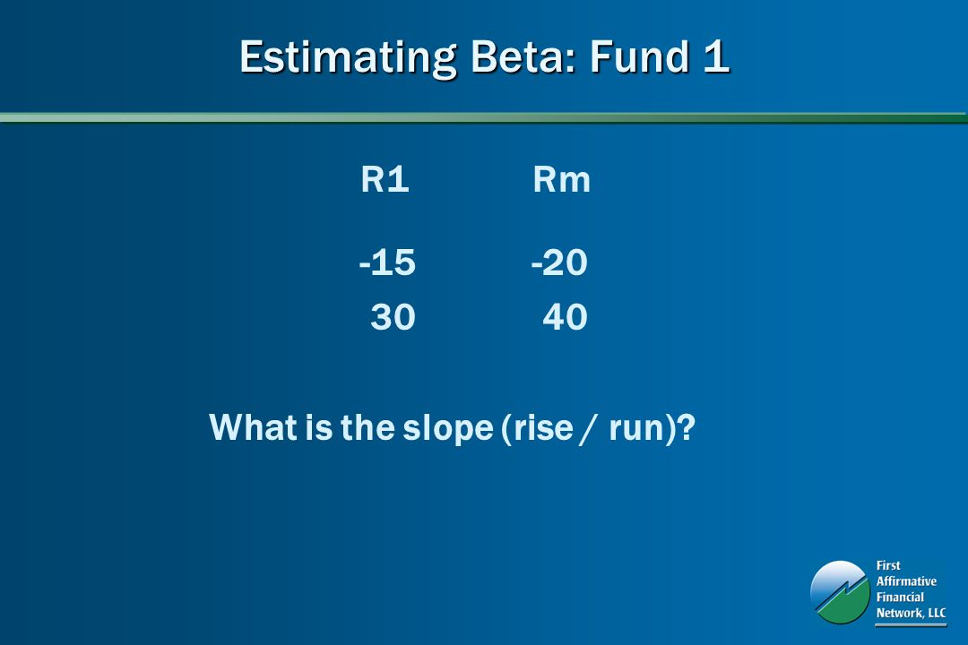 Estimating Beta: Fund 1 R1Rm -15-20 30 40 What is the slope (rise / run)?