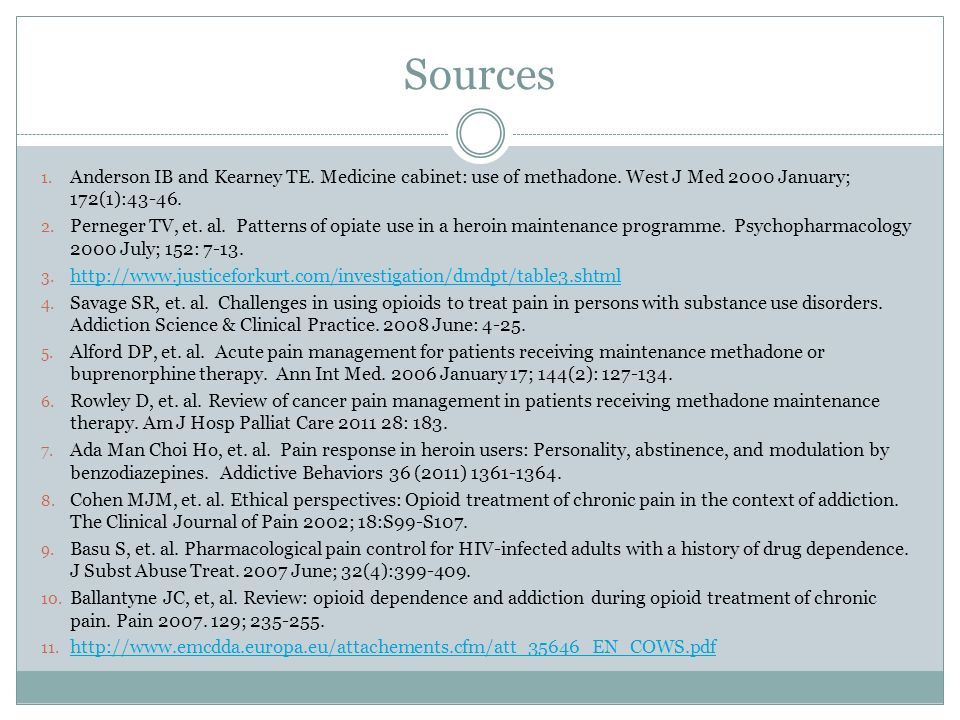Sources 1. Anderson IB and Kearney TE. Medicine cabinet: use of methadone. West J Med 2000 January; 172(1):43-46. 2. Perneger TV, et. al. Patterns of