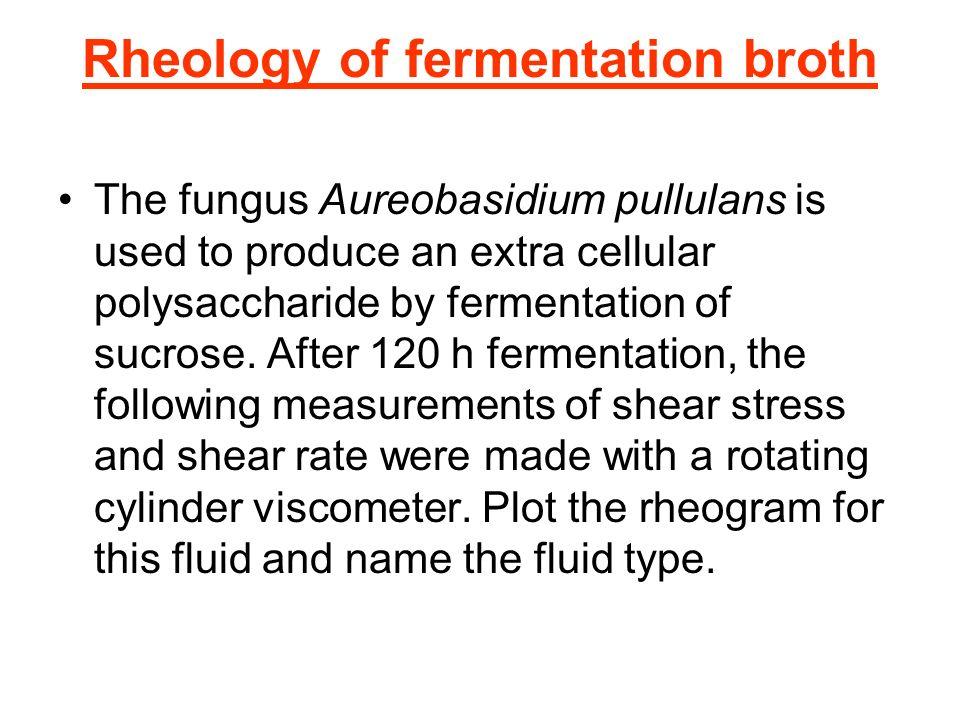 Rheology of fermentation broth The fungus Aureobasidium pullulans is used to produce an extra cellular polysaccharide by fermentation of sucrose. Afte
