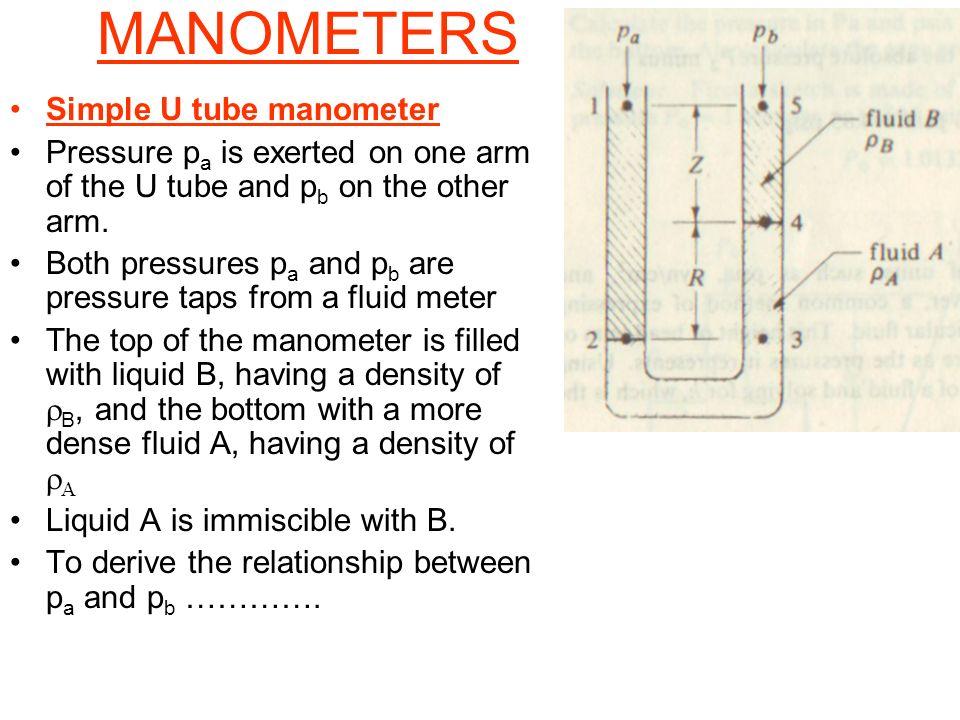 MANOMETERS Simple U tube manometer Pressure p a is exerted on one arm of the U tube and p b on the other arm. Both pressures p a and p b are pressure