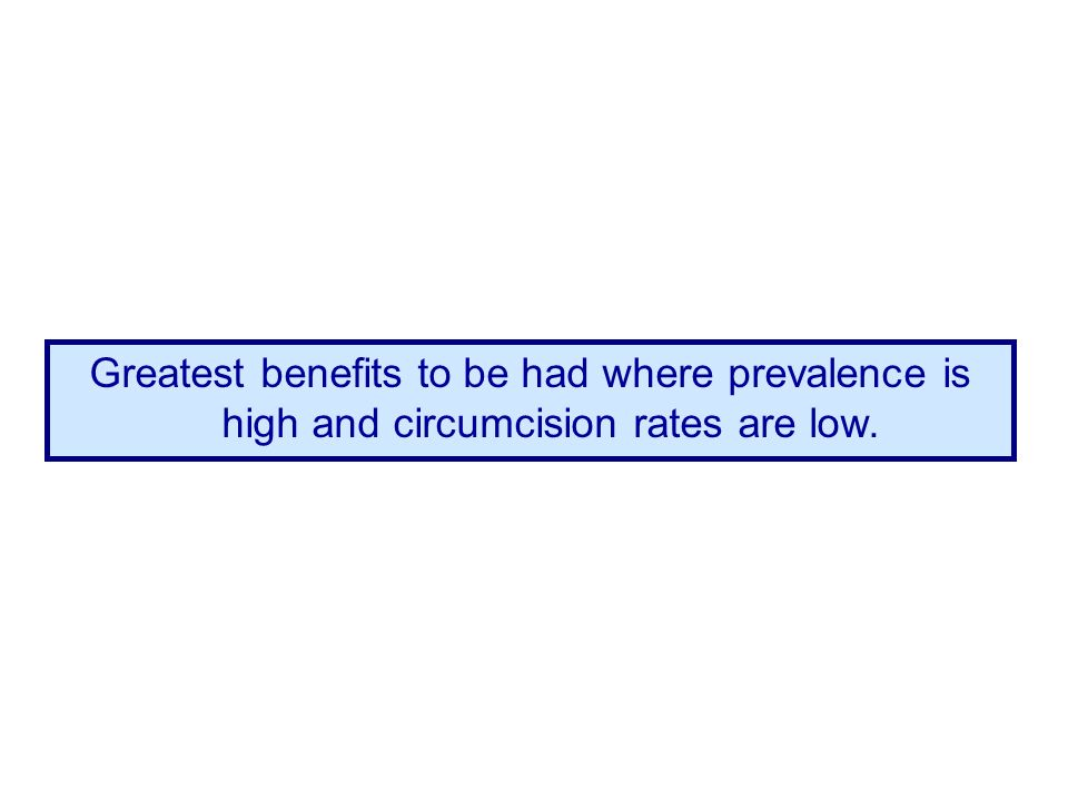 Greatest benefits to be had where prevalence is high and circumcision rates are low.