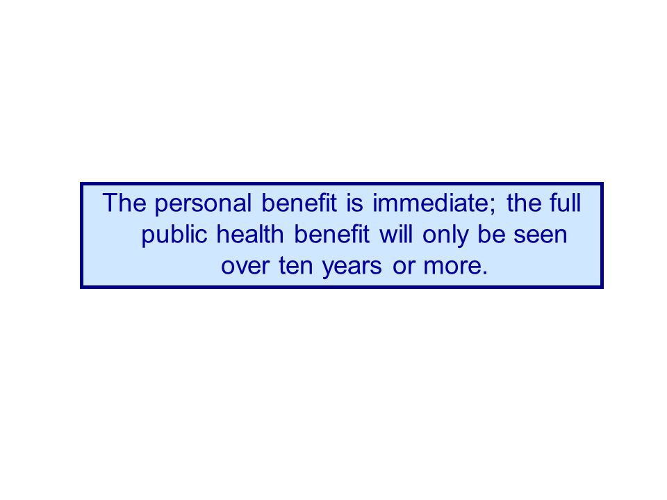 The personal benefit is immediate; the full public health benefit will only be seen over ten years or more.