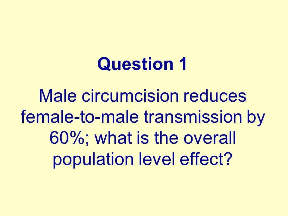 Question 1 Male circumcision reduces female-to-male transmission by 60%; what is the overall population level effect?