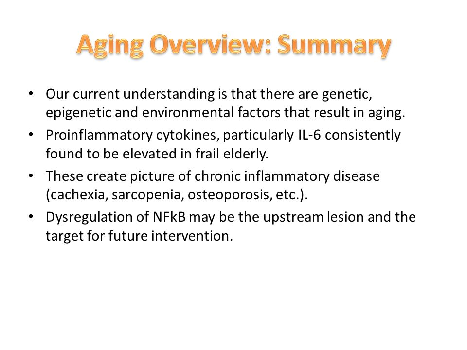 Our current understanding is that there are genetic, epigenetic and environmental factors that result in aging.