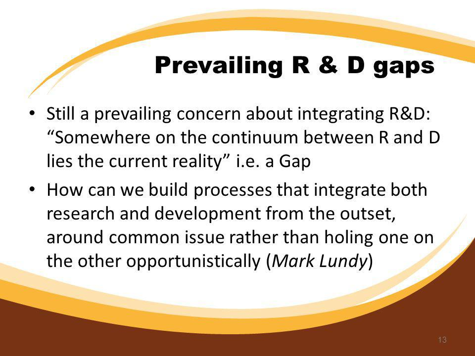 Still a prevailing concern about integrating R&D: Somewhere on the continuum between R and D lies the current reality i.e. a Gap How can we build proc