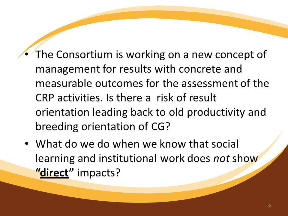 The Consortium is working on a new concept of management for results with concrete and measurable outcomes for the assessment of the CRP activities. I