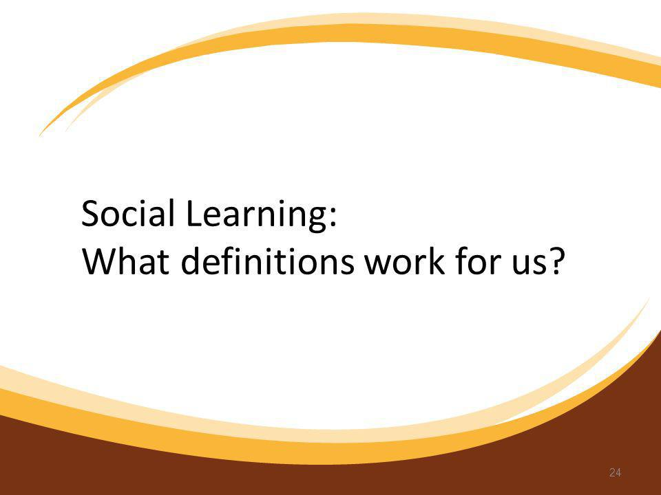 Social Learning: What definitions work for us? 24