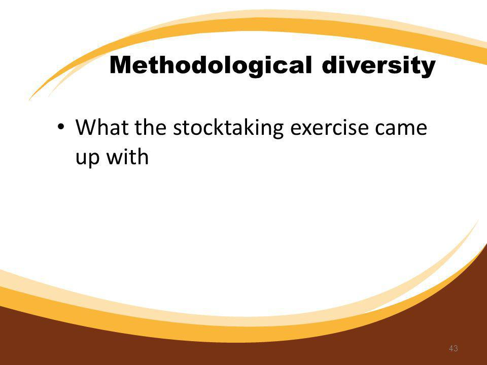 Methodological diversity What the stocktaking exercise came up with 43