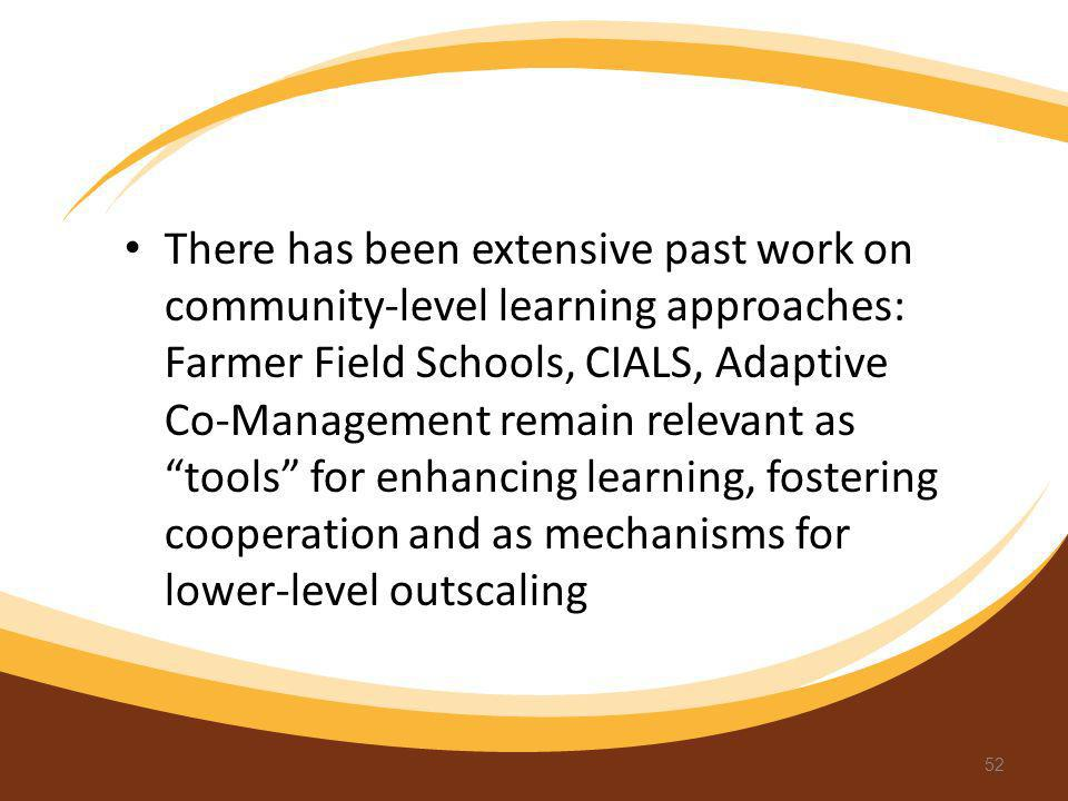 There has been extensive past work on community-level learning approaches: Farmer Field Schools, CIALS, Adaptive Co-Management remain relevant as tool
