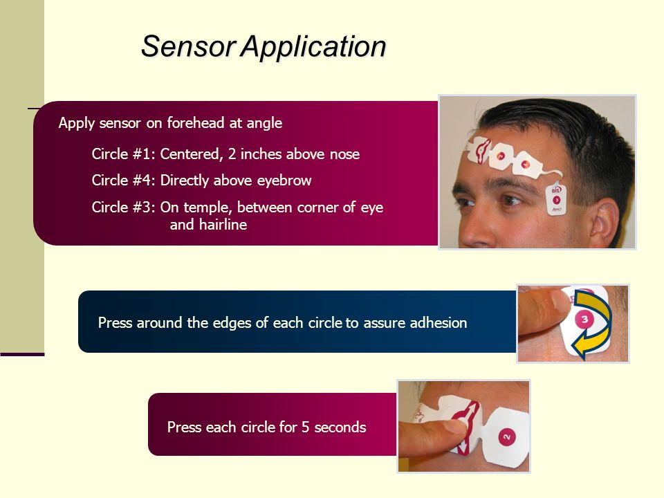 Sensor Application Apply sensor on forehead at angle Circle #1: Centered, 2 inches above nose Circle #4: Directly above eyebrow Circle #3: On temple, between corner of eye and hairline Press around the edges of each circle to assure adhesion Press each circle for 5 seconds