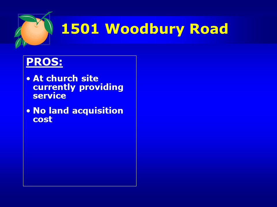 1501 Woodbury Road PROS: At church site currently providing service No land acquisition cost