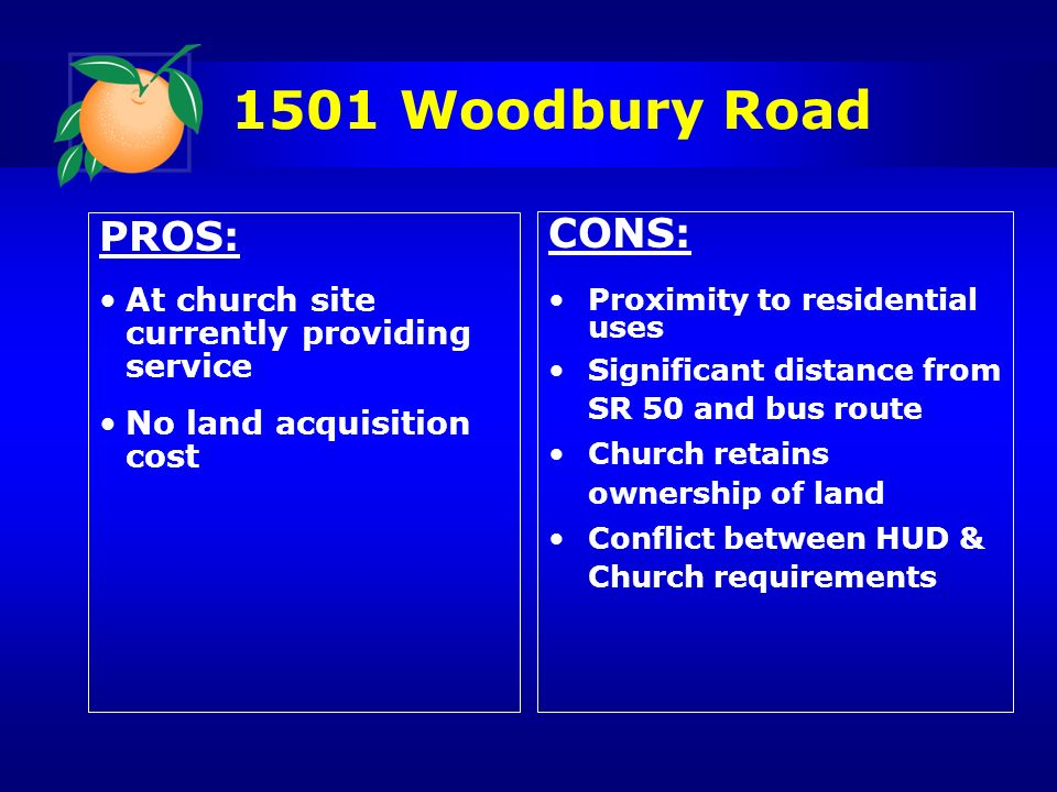 1501 Woodbury Road PROS: At church site currently providing service No land acquisition cost CONS: Proximity to residential uses Significant distance from SR 50 and bus route Church retains ownership of land Conflict between HUD & Church requirements