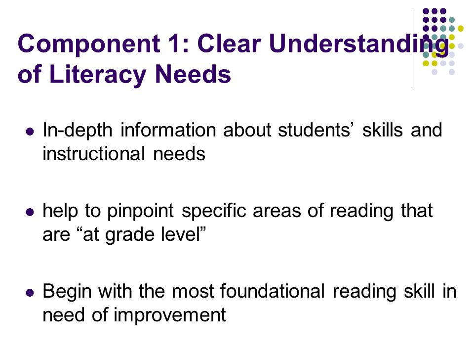 Component 1: Clear Understanding of Literacy Needs In-depth information about students skills and instructional needs help to pinpoint specific areas