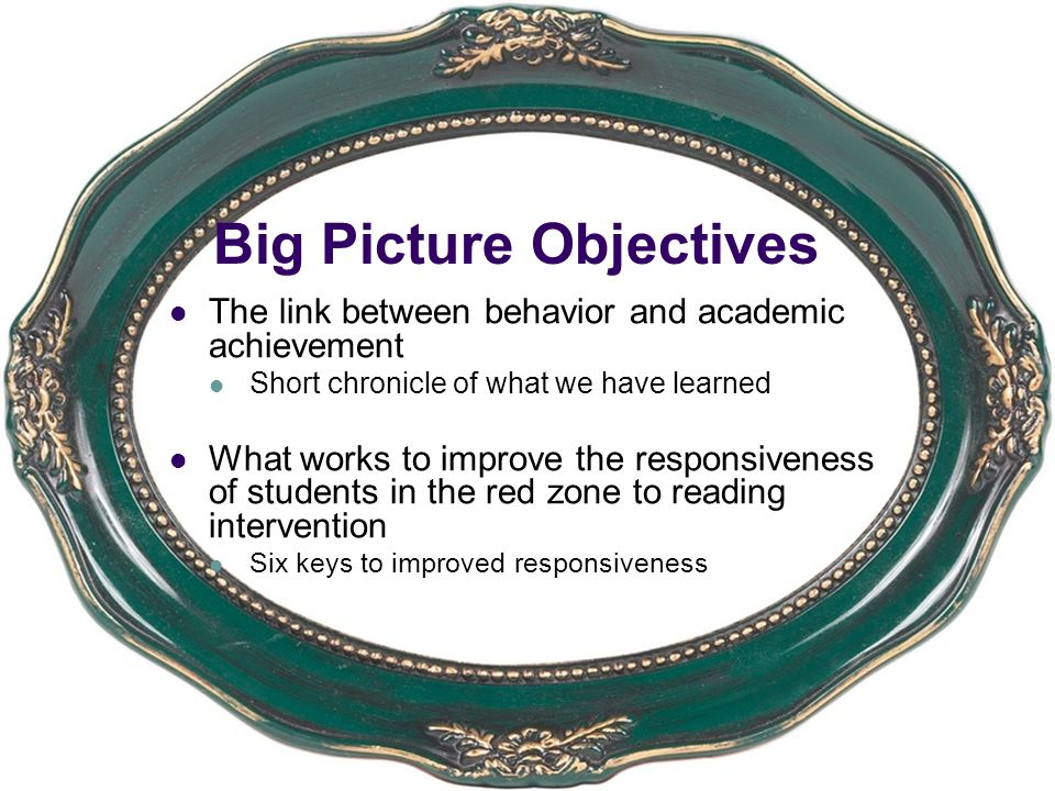 Big Picture Objectives The link between behavior and academic achievement Short chronicle of what we have learned What works to improve the responsive