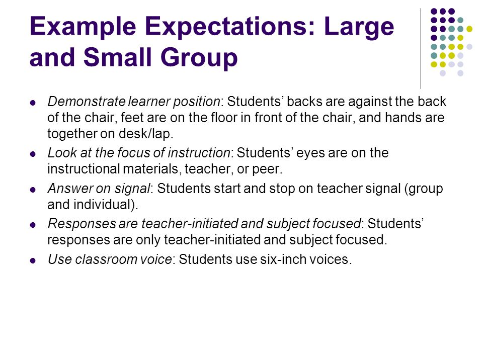 Example Expectations: Large and Small Group Demonstrate learner position: Students backs are against the back of the chair, feet are on the floor in f