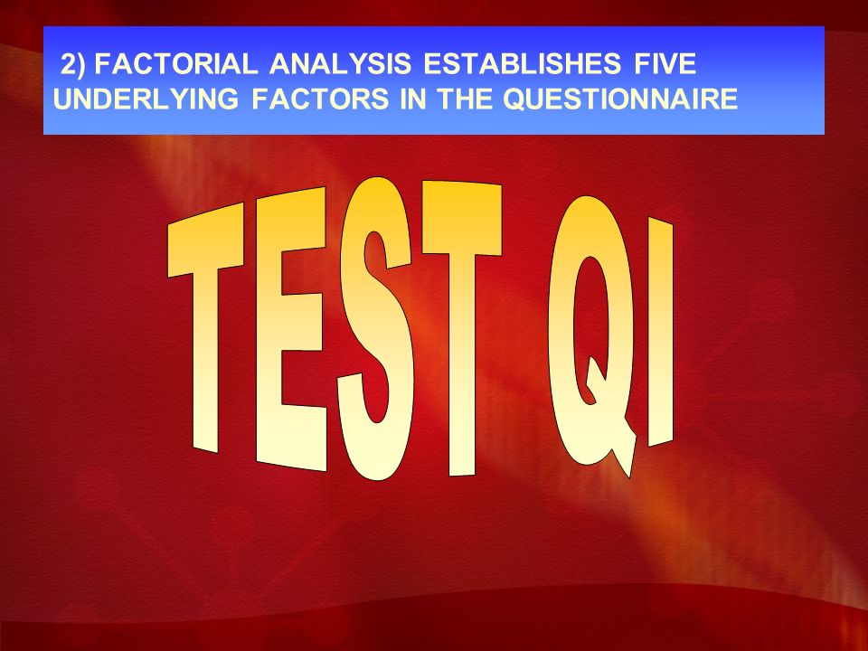 2) FACTORIAL ANALYSIS ESTABLISHES FIVE UNDERLYING FACTORS IN THE QUESTIONNAIRE