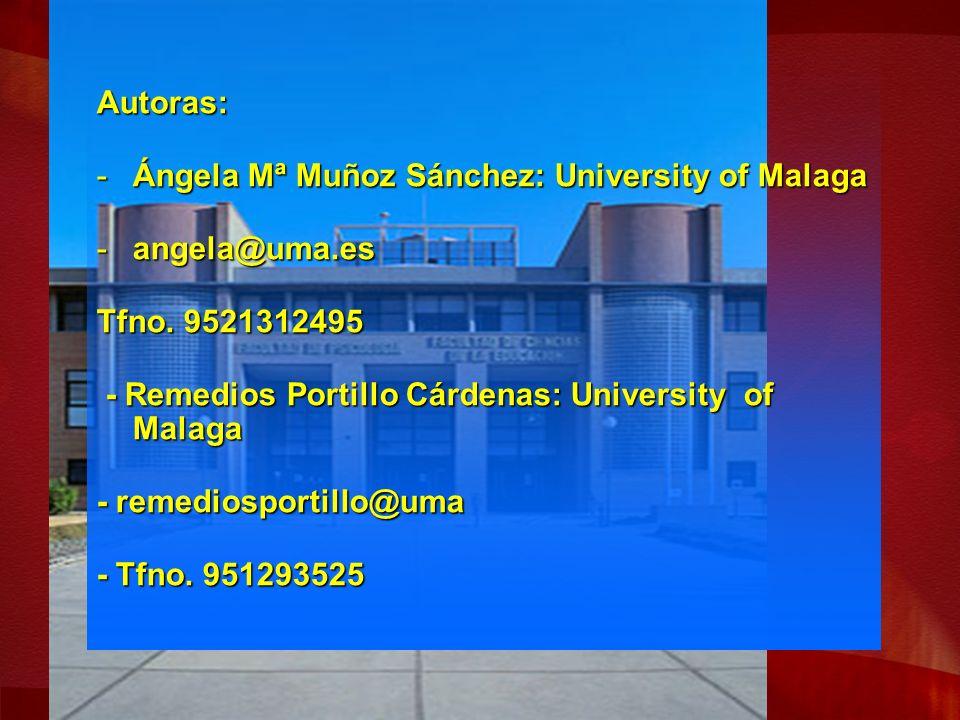 Autoras: -Ángela Mª Muñoz Sánchez: University of Malaga -angela@uma.es Tfno.