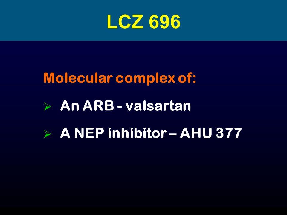 LCZ 696 Molecular complex of: An ARB - valsartan A NEP inhibitor – AHU 377
