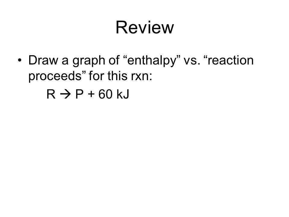 Review Draw a graph of enthalpy vs. reaction proceeds for this rxn: R P + 60 kJ