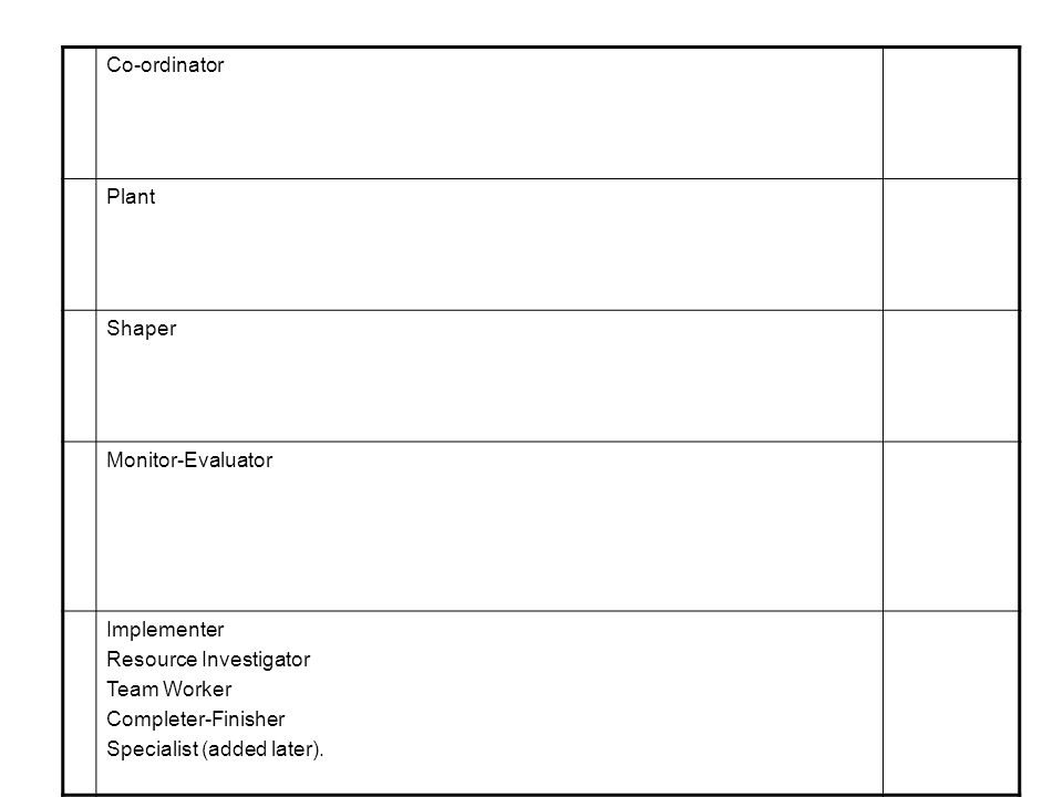 Co ordinator Plant Shaper Monitor Evaluator Implementer Resource Investigator Team Worker Completer Finisher Specialist (added later).