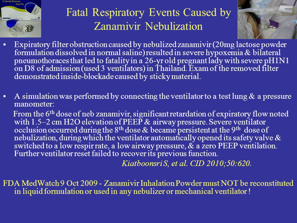 Fatal Respiratory Events Caused by Zanamivir Nebulization Expiratory filter obstruction caused by nebulized zanamivir (20mg lactose powder formulation dissolved in normal saline) resulted in severe hypoxemia & bilateral pneumothoraces that led to fatality in a 26-yr old pregnant lady with severe pH1N1 on D8 of admission (used 3 ventilators) in Thailand.