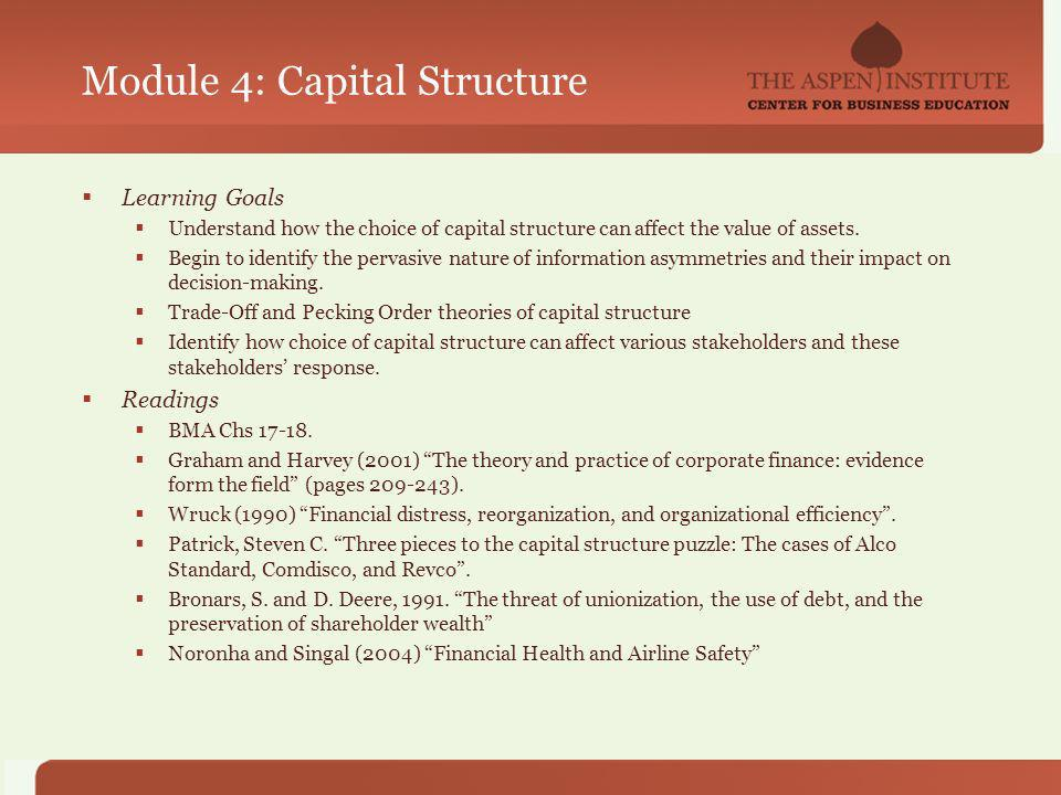 Module 4: Capital Structure Learning Goals Understand how the choice of capital structure can affect the value of assets.